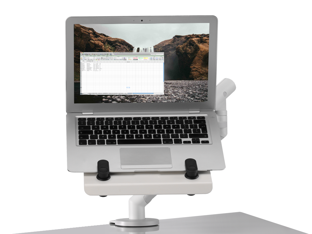 Cbs Laptop Mount Integrates With The Flo And Ollin Monitor Arms Raises Off Desk To Suit Height Of User Whilst Creating Additional